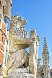 Grammont, Belgium. Guardian lion statue on entry to medieval city hall in Grammont, Belgium Stock Image