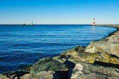 Gramocząsteczka na morza bałtyckiego wybrzeżu w Warnemuende Zdjęcie Stock
