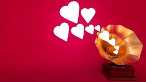 Gramofon - dźwięk miłość, romans/ Obraz Stock