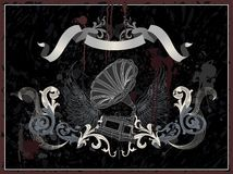 Gramofone com asa, stile retro do grunge Ilustração Stock