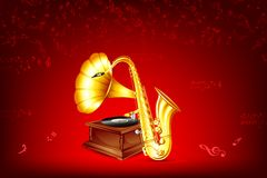 Gramofone e saxofone Fotos de Stock