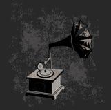Gramofone - fundo preto Fotos de Stock Royalty Free