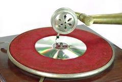 Gramofone retro com DVD Fotografia de Stock Royalty Free