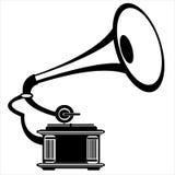 Gramofone retro do vetor no branco Imagem de Stock