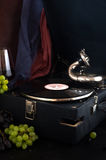 Gramophone ήχος κινηματογραφήσεων σε πρώτο πλάνο σταφυλιών αρχείων αναδρομικός στοκ εικόνα με δικαίωμα ελεύθερης χρήσης