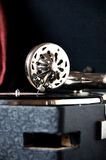 Gramophone αναδρομική κινηματογράφηση σε πρώτο πλάνο μουσικής βελόνων υγιής Στοκ Εικόνες