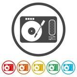 Gramophone εικονίδιο, 6 χρώματα συμπεριλαμβανόμενα Στοκ Εικόνες
