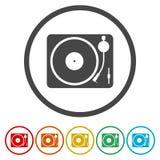 Gramophone εικονίδιο, 6 χρώματα συμπεριλαμβανόμενα Στοκ εικόνα με δικαίωμα ελεύθερης χρήσης