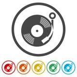 Gramophone εικονίδιο, 6 χρώματα συμπεριλαμβανόμενα Στοκ Φωτογραφία