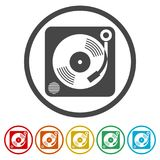 Gramophone εικονίδιο, 6 χρώματα συμπεριλαμβανόμενα Στοκ εικόνες με δικαίωμα ελεύθερης χρήσης