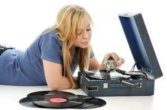 gramophone νεολαίες γυναικών Στοκ Εικόνα