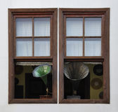 Gramophone. Window gramophone with record background Royalty Free Stock Image