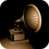 Gramophone. On a dark background Stock Image