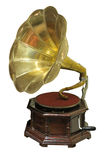 Gramophone. View of old-fashioned gramophone isolated on white background Royalty Free Stock Images