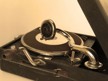 Gramophone. Old gramophone with a new cd Royalty Free Stock Images