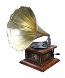 Gramophone. An old brass horn gramophone and record stock photos