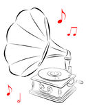 Gramophone. Line drawing of phonograph with musical notes stock illustration