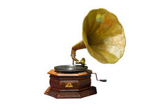 Gramophone. Photo of retro gramophone with disc isolated Royalty Free Stock Image