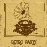 Πρόσκληση στο αναδρομικό Κόμμα με gramophone Στοκ Εικόνες