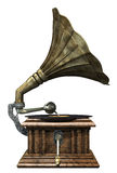 Gramophone. 3d render of antique gramophone stock illustration