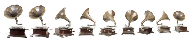 Gramophone. An collection old style gramophones stock images