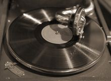 Gramophone. Closeup of a gramophone in action Stock Photo