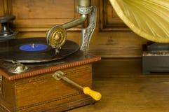 Gramophone. Old vintage gramophone with black vinyl Royalty Free Stock Images