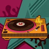 Gramophone with abstract background Stock Image