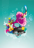 Gramophone abstract color illustration Stock Photos