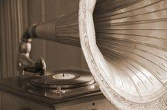 Gramophone. Antique gramophone (in sepia, retro style Stock Image