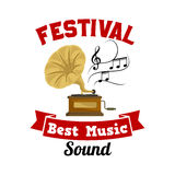 Gramophone. Best music sound festival emblem Stock Photography