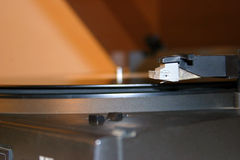 Gramophone close-up. Zoom on a vinyl record player stock photo