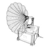 Gramophone. 3D model body structure, wire model Royalty Free Stock Photo