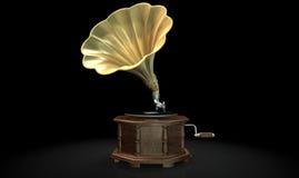 Gramophone Dark Background Stock Photography