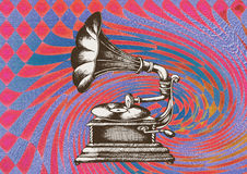 Gramophone. Decorative composition of gramophone in abstract background Royalty Free Stock Images