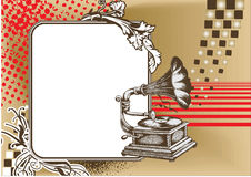 Gramophone. Decorative composition of gramophone in abstract background Stock Photography