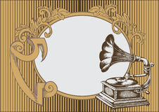 Gramophone. Decorative composition of gramophone in abstract background Royalty Free Stock Photos