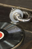 Gramophone. Detail of an old gramophone and record royalty free stock images