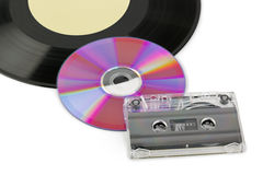 Gramophone disk, cd and cassette Royalty Free Stock Photos