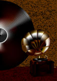 Gramophone and disk Royalty Free Stock Photography