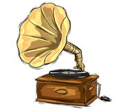 Gramophone drawing Stock Images