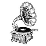 Gramophone engraving style vector Royalty Free Stock Image