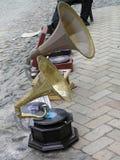 Antique gramophones Stock Images