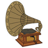 Gramophone. Hand drawing of classic horn gramophone Royalty Free Stock Photography