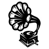 Gramophone icon for logo template, vector monochrome illustration Royalty Free Stock Photo