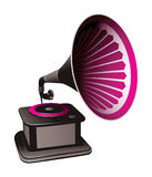 Gramophone illustration. Illustration of a gramophone in black, gray and pink, isolated on a white background Royalty Free Stock Image