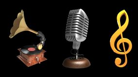 Gramophone, microphone, treble clef stock video