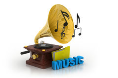 Gramophone and music folder Stock Photo