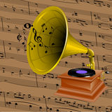 Gramophone on music note background Royalty Free Stock Images