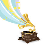 Gramophone with musical notes Stock Photos
